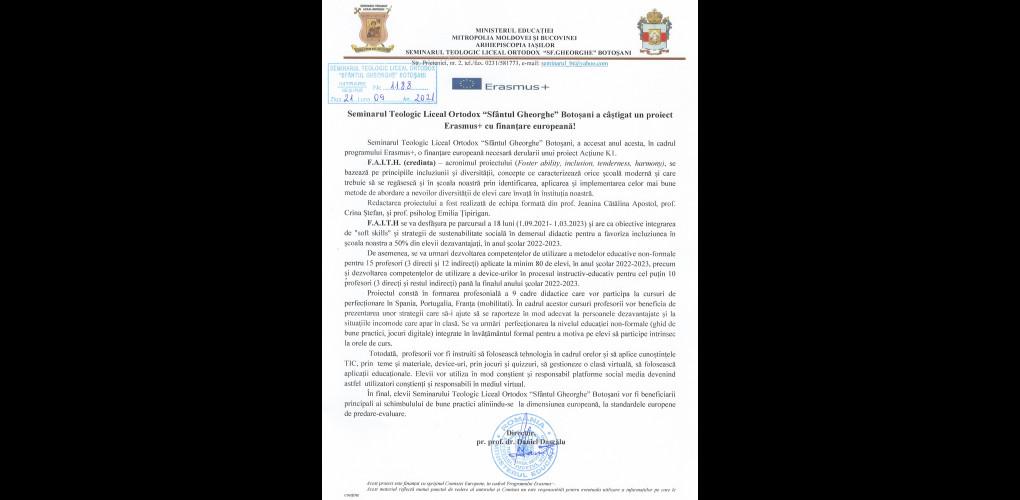 """Seminarul Teologic Liceal Ortodox """"Sfântul Gheorghe"""" Botoșani a câștigat un proiect Erasmus+ cu finanțare europeană!"""